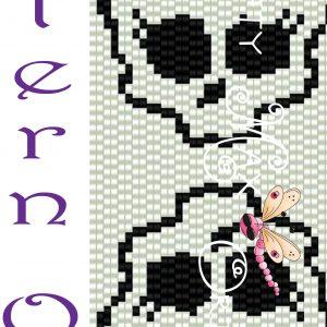 Pink and White Skulls 2 Drop Peyote Krafty Max Original Design Pattern