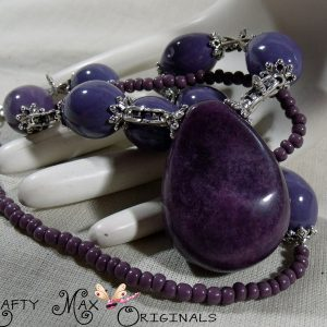Purple Gemstone, Ceramic, Glass Beads and Dragonflies Necklace Set