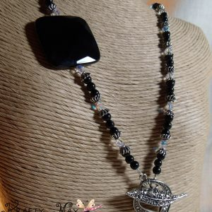 Black Onyx and Crystal Necklace Set for the Creations Color Challenge