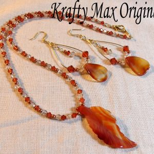Carnelian Leaf and Swarovski Crystal Necklace set