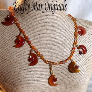 Carnelian Moon and Stars with Swarovski Crystals Necklace Set