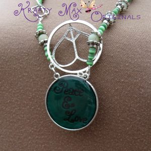 Green Peace and Love Necklace Set