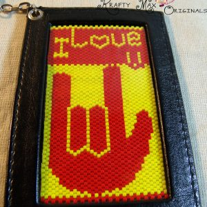 I Love You – Sign Language – Beadwoven Key Chain / Photo Holder