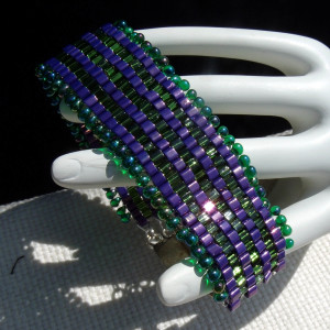 Purple and Green CUBED Bracelet