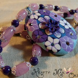 Mountain Jade and Pink Quartz Flowery Necklace Set