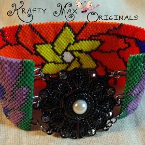 Rainbow Beadwoven Mandala Flower Cuff