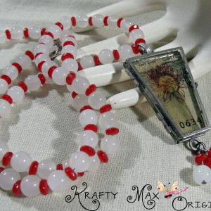 Red and White Glass Beads and A Wonderful Flower 3 Piece Necklace Set