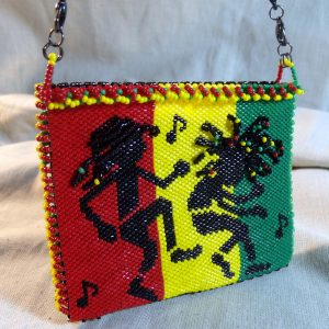 Beadwoven (Off Loom) Reggae Dancing with the Beat Purse or Bag