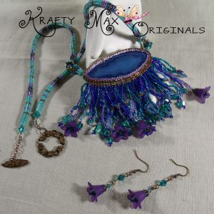 Beadwork April/May 2013 'the challenge' Blue/Teal/Purple Beadwoven Set