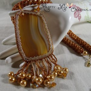 Ms. Brunella – a Beautiful Brown Swarovski Beadwoven Necklace Set