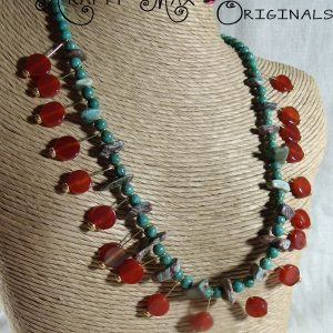 Carnelian and Jade Dangle Necklace Set
