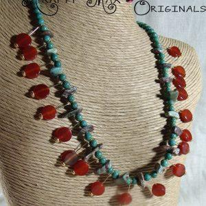 Carnelian and Jade Dangle Necklace Set