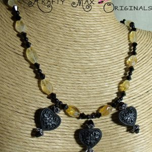 Citrine and Black Swarovski Crystals and Pearls Necklace Set