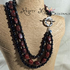 Red Jasper, Black Agate and Onyx -all in one- Triple Strand Necklace