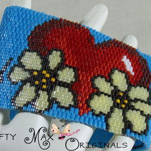 Heart with Flowers Beadwoven Bracelet – Krafty Max Original Design
