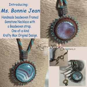 Ms. Bonnie Jean – Handmade Beadwoven Gemstone Framed Necklace