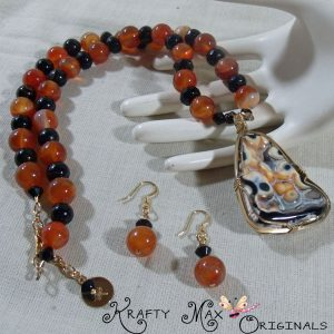 Carnelian and Onyx Gemstone Unique Wire Wrapped Necklace Set