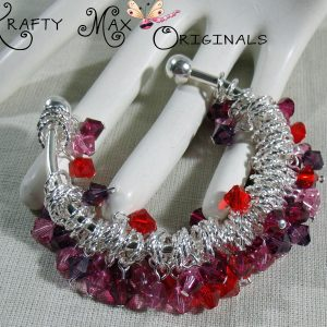 Shades of REDS and PURPLES Handmade Swarovski Crystal Bangle Bracelet