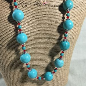Blue Magnesite and Red Swarovski Crystal are BOLD and BEAUTIFUL