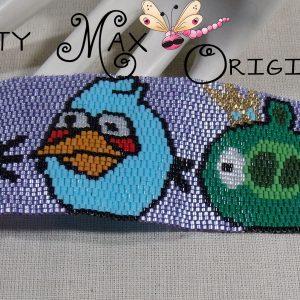 ANGRY BIRDS – Green Pig, Blue Bird and White Bird Beadwoven Bracelet