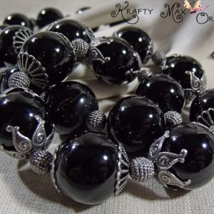 LARGE Black Agate and Antiqued Silver Findings Necklace Set