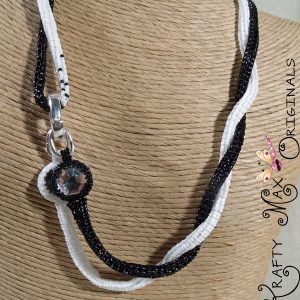 Black and White Herringbone Beadwoven Strap with Swarovski Crystals
