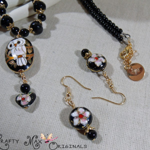 Cloisonné Owl with Onyx and Czech Crystals Necklace and Earrings Set