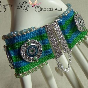 Blue and Green Beadwoven Swarovski Crystal Circles Bracelet