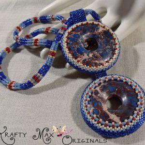 Lapis Blue Dyed Magnesite Handmade Beadwoven Framed Necklace
