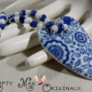 Blue and White Ceramic and Gemstone Beauty Necklace Set