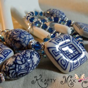 Blue White Ceramic and Swarovski Crystals – from Grandmothers Stash