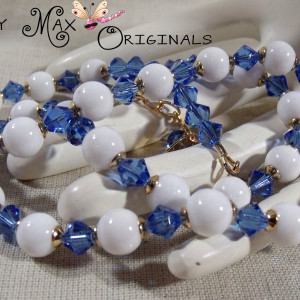 White Mountain Jade and Blue Swarovski Crystals w/Gold Plated Findings