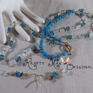 Blue Quartz and Blue Dyed Jade Necklace Set