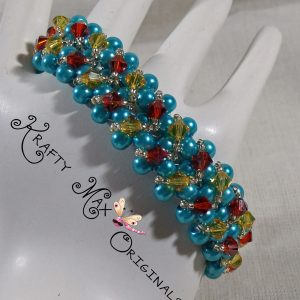 Teal Pearls w/Burnt Red and Yellow Swarovski Crystals Beadwoven Bracelet