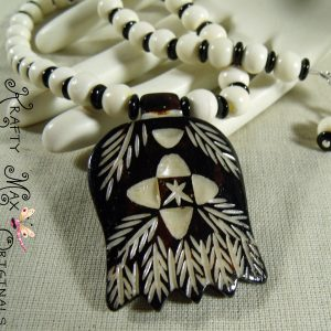 Engraved Wooden Leaves and Bone Necklace Set from Grandmother's Stash