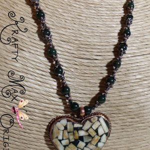 Handmade Copper and Shell Heart Necklace Set from Grandmother's Stash
