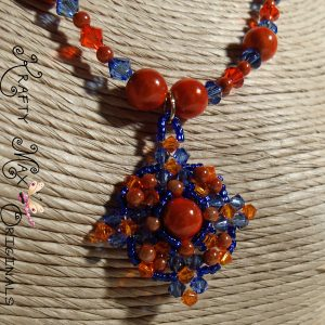 Florida Gator Miracle Beads and Swarovski Crystals Beadwoven Necklace Set