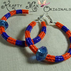 Florida Gator (Orange and Blue) Beadwoven Stainless Steel Hoops