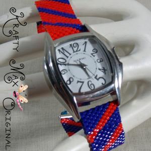 Beadwoven Orange and Blue Florida Gator Watch