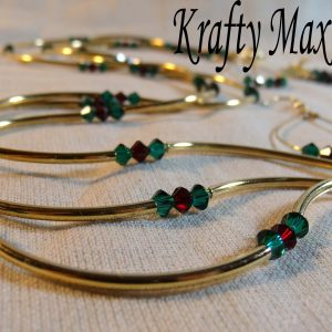 Triple Strand Swarovski Crystal Christmas and Gold Necklace Set