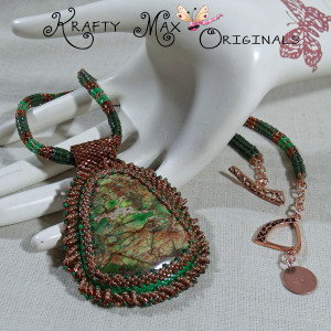 Ms. Ardith, Green and Bronze Beautiful Beadwoven Necklace