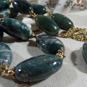 Green (Nephrite Jade) and Gold Plated Findings – 3 Piece Necklace Set