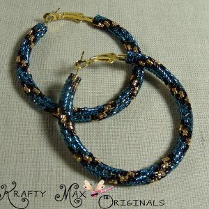 Jaguar (Teal, Black and Gold) Beadwoven Stainless Steel Hoops