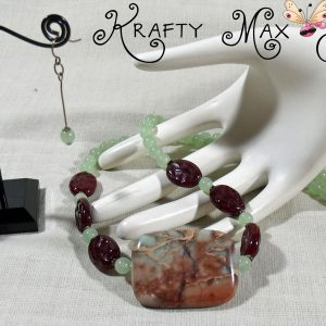 Lime Green and Deep Red Match Up Necklace Set a Krafty Max Original