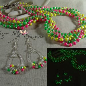 Neon Swarovski Pearls and Glow in the Dark Beads Twist Necklace Set
