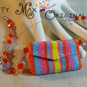 Neon Stripes Mini Beadwoven Envelope Necklace Set