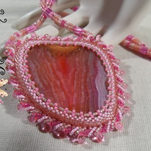 My Lady Carissa Handmade Beadwoven Raspberry Quartz Necklace