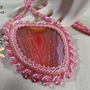 My Lady Carissa Handmade Beadwoven Raspberry Quartz Necklace