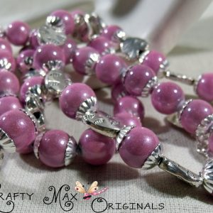 Pink Miracle Beads Glow with Silver Plated Hearts Necklace Set