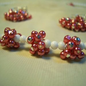 Pink Pearls in Clumps –  Necklace Set